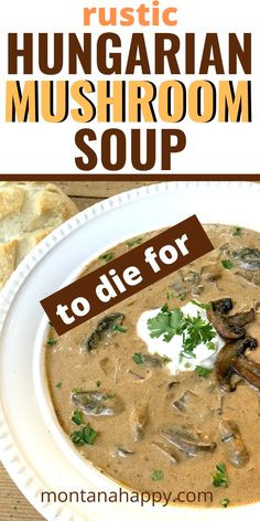 To-Die-For Hungarian Mushroom Soup Recipe - there are soup recipes.and then there's THIS soup Best Mushroom Soup, Hungarian Mushroom Soup, Creamy Mushroom Soup, Mushroom Soup Recipes, Best Soup Recipes, Vegetarian Recipes, Healthy Recipes, Mushroom Bisque, Mushroom Soup Crockpot Recipe