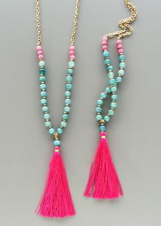Long Hot Pink and Turquoise Beaded necklace. Great inspiration for my next tassel necklace DIY Tassel Jewelry, Beaded Jewelry, Jewelry Box, Jewelry Accessories, Jewelry Necklaces, Handmade Jewelry, Jewelry Design, Jewelry Making, Diamond Necklaces