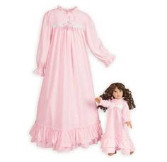 Let her dream away in this pretty pink gown of soft, flame resistant polyester jersey. Front yoke with white eyelet trim and ribbon bow. Ruffled doubl