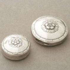Gallery925 - Georg Jensen Sterling Silver Floral Pill Box and Compact Set No. 79 , Handmade Sterling Silver