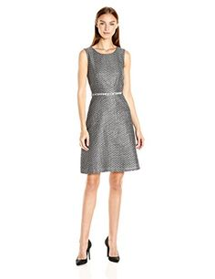 Nine West Women's Tweed Fit and Flare Dress, Black/Ivory,...