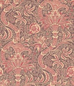 Indian (DMOWIN102) - Morris Wallpapers - A faithful reproduction of a late 19th C design, this is a flamboyant stylised intricately patterned and richly coloured floral trail  Available in 4 colours – shown in the wine and heather. Please ask for a sample for true colour match.