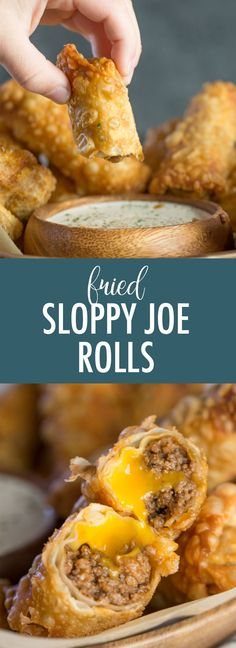 I can't think of anything more game day worthy than these Fried Sloppy Joe Rolls - they are dip-able, delicious, and filled with meat and cheese! Let's eat!