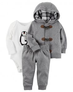 Your little penguin will waddle about looking his coziest in this boys' Carter's hooded cardigan, bodysuit and pants set. In gray. Niñas Carters Baby, Carters Baby Clothes, Babies Clothes, Jogger Outfit, Jogger Pants, Baby Boy Outfits, Kids Outfits, Baby Boy Jackets, Boys Hoodies