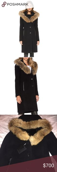 Mackage Wool Coat wool-blend chill-chaser. Topped with a rich fur-trimmed hood and supple leather trim Shell: wool/polyamide/cashmere; trim: cow leather; fur: Real Asiatic raccoon fur, natural; origin: China; lining: polyester/spandex Professional leather clean Imported Attached hood with real fur trim, stand collar with quilted leather trim, long sleeves Front button closure, slit side pockets Leather trim at back waist, lined Mackage Jackets & Coats