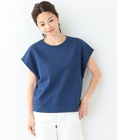 Demi-Luxe BEAMS(デミルクスビームス)のDemi-Luxe BEAMS / サイド スリット ポンチ プルオーバー(Tシャツ/カットソー)|ブルー