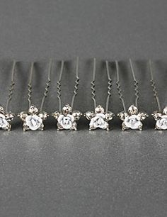 Gorgeous Crystals Wedding Bridal Pins/ Flowers,6 Pieces  More Colors Available