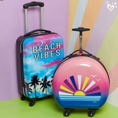 Beach vibes ready to travel the globe. Girls Fashion Clothes, Tween Fashion, Cute Teen Outfits, Girl Outfits, Justice Bags, Justice Stuff, Cute Luggage, Pink Luggage, Cute Suitcases