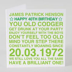 Male personalised birthday card