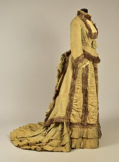 Dress, silk with ostrich feathers, possibly French, 1876
