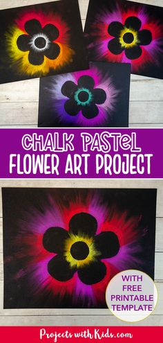 Make beautiful chalk pastel flower art for kids with easy pastel techniques and a free flower printable template! Fun Crafts For Kids, Projects For Kids, Art For Kids, Chalk Pastel Art, Chalk Pastels, 3rd Grade Art, Grade 3, Clay Art Projects, Pastel Flowers
