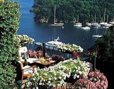 Hotel Splendido a five-stars hotel in Portofino, Liguria, Italia You can see Castel Brown(Enchanted April) from here.
