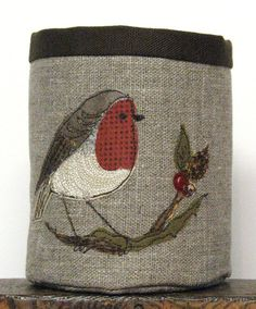 A little fabric pot made from a natural coloured Russian linen with a dark chocolate lining. My robin design involves lots of embroidery and is made using new Freehand Machine Embroidery, Free Motion Embroidery, Hand Embroidery, Fabric Cards, Fabric Boxes, Fabric Basket, Fabric Storage, Bird Applique, Sewing Cards