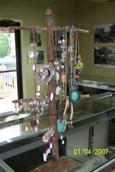 Cave City Welcome Center and Crafted in Kentucky gift shop. Jewelry display created from old chair back. Cave City, Chair Backs, Jewellery Display, Kentucky, Mirror, Shop, Crafts, Jewelry, Home Decor
