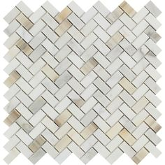 5/8 x 1 1/4 Honed Calacatta Gold Marble Mini Herringbone Mosaic Tile