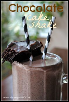 Chocolate Cake Shake - Shugary Sweets.  Recipe with 3 ingredients: chocolate ice cream, milk and a slice of chocolate cake with chocolate frosting.  Make in blender.