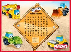 Challenge your kids to spot all five words! Click through our photo album for more activities! Playskool, Activity, Word Search, Kids