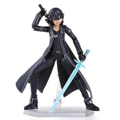 Anime Sword Art Online S.A.O Kirito Action Figure Toys 15cm Kirigaya Kazuto Figma PVC Action Figure Collectible Model Toy 3 Face