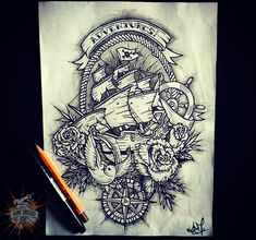 Ship tattoo on sketch (on paper) graphics by Daniil Smoker Traditional Tattoo Sketches, Traditional Tattoo Inspiration, Traditional Tattoo Design, Patriotic Tattoos, Nautical Star Tattoos, Adventure Tattoo, Anchor Tattoo Design, Tattoo Templates, Tattoos With Kids Names