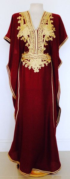 Maroon & Gold Moroccan Kaftan-perfect for summer, beach