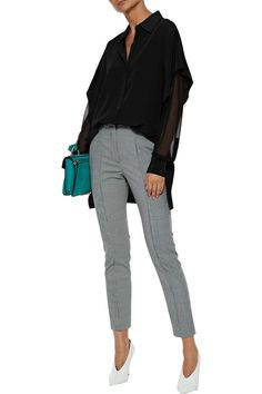 Shop on-sale Chiffon-paneled silk-satin top. Browse other discount designer Long Sleeved Top & more luxury fashion pieces at THE OUTNET Satin Top, Silk Satin, Mcq Alexander Mcqueen, Straight Leg Pants, Fashion Outlet, Silk Chiffon, Wrap Style, Diane Von Furstenberg, Chic Outfits
