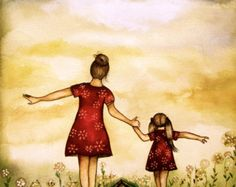Madre e hija con la impresión del arte de la por claudiatremblay