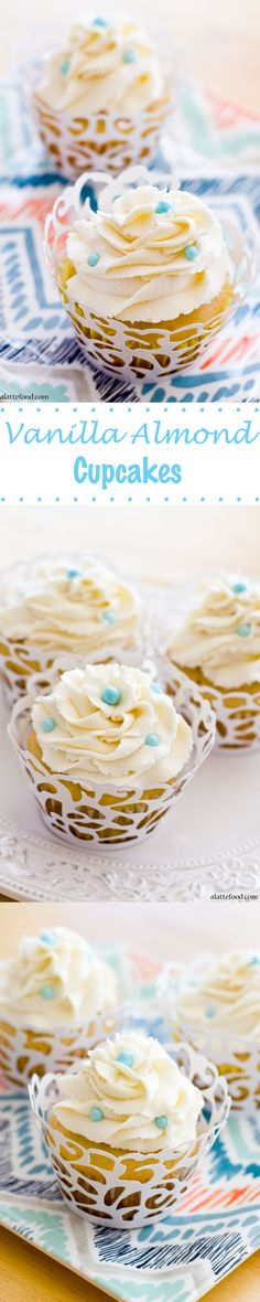Vanilla Almond Cupcakes | A classic combination in a fluffy, heavenly cupcake!