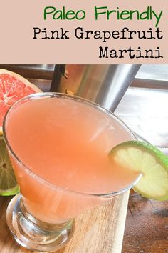 This Paleo friendly Pink Grapefruit Martini may be the perfect cocktail for your summer entertaining. Post also includes a non-alcoholic mocktail drink version. Perfect for brunch or a wedding, too Martini Recipes, Drinks Alcohol Recipes, Yummy Drinks, Cocktail Recipes, Bartender Recipes, Drink Recipes, Mocktail Drinks, Refreshing Cocktails, Paleo Alcoholic Drinks