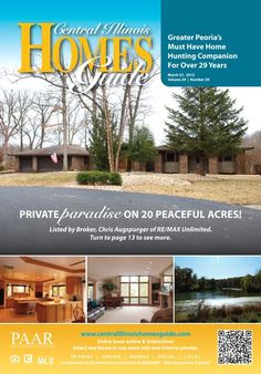Private, Paradise, Peaceful....Peoria! Find great homes for sale in the Central Illinois Homes Guide! #realestate #Peoria #IL #homesguide #homesforsale