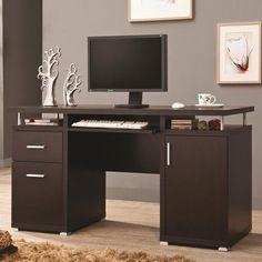 Coaster Desks Cappuccino Computer Desk with 2 Drawers & Cabinet - Coaster Fine Furniture #coasterfurnituredrawers #coasterfurnituredesks