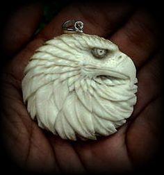 Buffalo Bone pendant, Eagle head, hand carved (Free Shipping) by BaliCarver on Etsy https://www.etsy.com/listing/183842436/buffalo-bone-pendant-eagle-head-hand