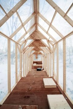 8 | 8 Of The World's Most Gorgeous Rural Cabins | Co.Design | Hidemi Nishida, Fragile Shelter. This project is a temporary forest shelter for winter activities. The structure is on small stilts, elevated off the ground so that snow doesn't warp its wood foundation.