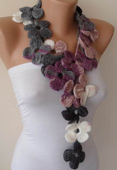 Crochet Scarf Design Unique Gifts for Woman Personalized Gift for Women Knit Scarf Flower Scarf Lilac Christmas Gift Tren - Handmade Handknit flowered scarf It is suitable for handwash under C without tumble dry.Thank you for visiting! Crochet Scarves, Crochet Shawl, Crochet Clothes, Crochet Lace, Scarf Knit, Crochet Gifts, Crochet Puff Flower, Crochet Flower Patterns, Crochet Flowers