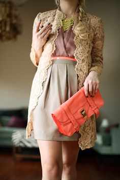 Appropriate and flattering skirt length cinched with a belt. THIS, ladies, is how to properly wear neon.