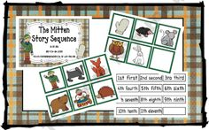 The Mitten sequence cards, cute for popsicle sticks for preschoolers!