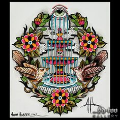 "Fountain of Life - 16x20"" Inkjet Giclee Art Print - SD-too Gallery - Adam Harper - Chapter One Tattoo Artist Print - http://shop.sd-too.com"