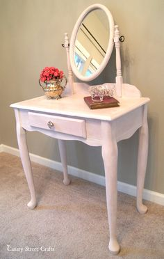 """Vanity painted with Annie Sloan's """"Henrietta"""" and """"Old White"""".  {Canary Street Crafts}"""