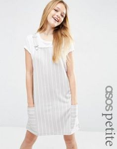 aa3888a6ff0b ASOS PETITE Pinafore Dress in Ponte with Stripe Long Summer Dresses