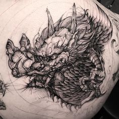 aggressive dragon tattoo idea by @bk_tattooer