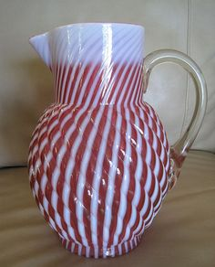 RARE Victorian EAPG Cranberry Opalescent Reverse Swirl Pitcher  found on Ruby Lane