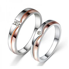 Shop Our Romantic Rose Gold Plated 925 Sterling Silver Inlaid Cz Couple Rings With The Lowest Price And Get Extensive Classic And Fashion Ring Collection Today. Couple Rings, Schmuck Design, Or Rose, Rose Gold, Beautiful Rings, Sterling Silver Jewelry, Silver Earrings, 925 Silver, Onyx Necklace