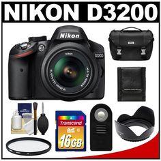 Nikon D3200 Digital SLR Camera  18-55mm G VR DX AF-S Zoom Lens (Black) with 16GB Card + Case + Filter + Remote + Accessory Kit