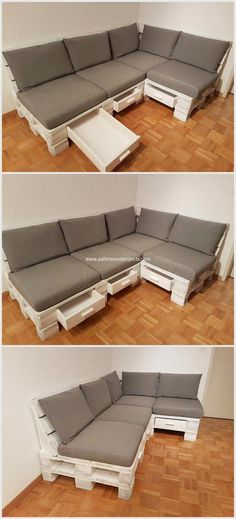 You can beautify your place by reusing these old wooden pallets. We have made a couch in L shaped design. It is very useful as you can put in the corner of your room. You can fix foam on this pallet wooden couch. We have also created drawers in this proje Wooden Pallet Projects, Wooden Pallet Furniture, Wooden Pallets, Wooden Diy, Furniture Decor, Pallet Wood, Outdoor Furniture, Furniture Projects, Cheap Furniture