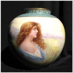 Signed Muller Hand Painted Royal Bonn Portrait Vase