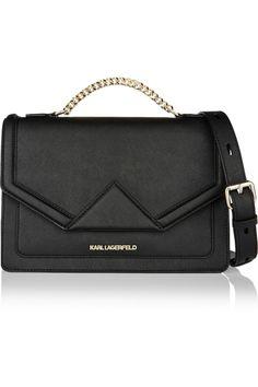 Karl Lagerfeld | Klassik textured-leather shoulder bag | NET-A-PORTER.COM