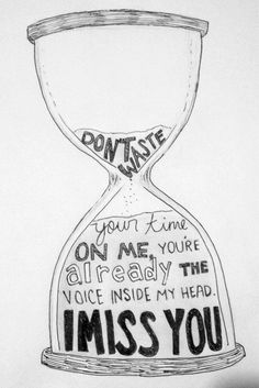 Don't waste your time on me, you're already the voice inside my head. I miss you