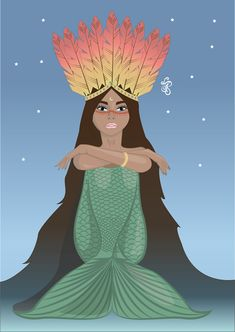 Iara Rainha d'água, Iara, Indian, drawing, vector, illustration, Mermaid, mermaid tale, sky, Queen, Water, Moon, design, Woman, cabocla, india, Deusa
