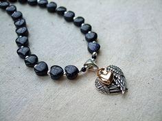 Blue Angel - Necklace, Bracelet and Earrings Set, Angel Wings, Gold Heart, Blue Goldstone Hearts, Sterling Silver