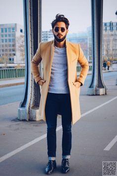 13. #Khaki Overcoat and Navy #Skinny Jeans - 39 Sexy and #Stylish Men's Street Style #Snaps ... → #Fashion #Street