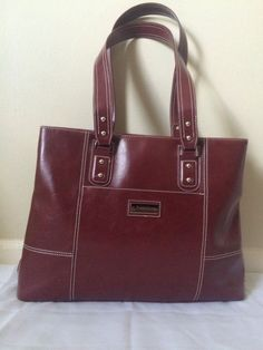 Franklin Covey Purse Women's Red Leather Briefcase Laptop Shoulder Handbag EUC  #FranklinCovey #ShoulderBag